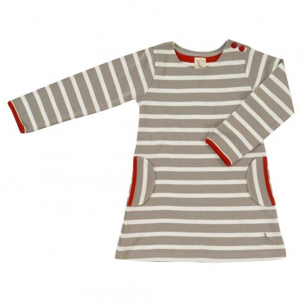 Breton kjole grå/hvid, blommefarvet lommer