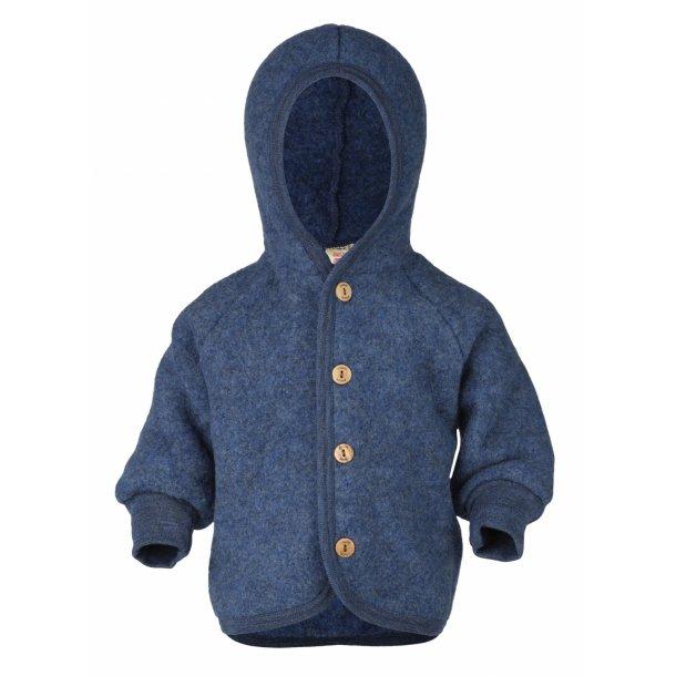 Engel, jakke i uldfleece, blue melange