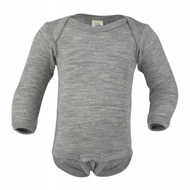 Engel natur, uld/silke body grå meleret