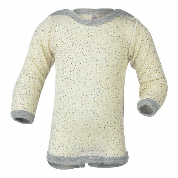 Engel, Body uld/silke natur m. grå kant og mønster