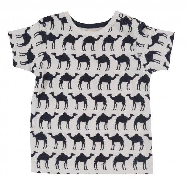 Pigeon Organics, t-shirt med kameler, hvid/navy